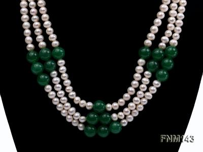 3 strand 6-7mm white freshwater pearl and jade freshwater pearl necklace FNM143 Image 2