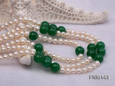 3 strand 6-7mm white freshwater pearl and jade freshwater pearl necklace FNM143 Image 4