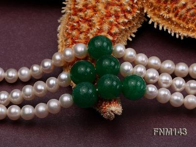 3 strand 6-7mm white freshwater pearl and jade freshwater pearl necklace FNM143 Image 5