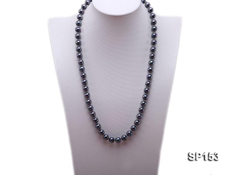 10mm shiny black round seashell pearl necklace big Image 1