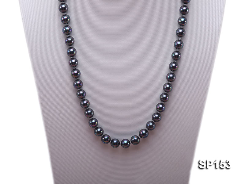 10mm shiny black round seashell pearl necklace big Image 2