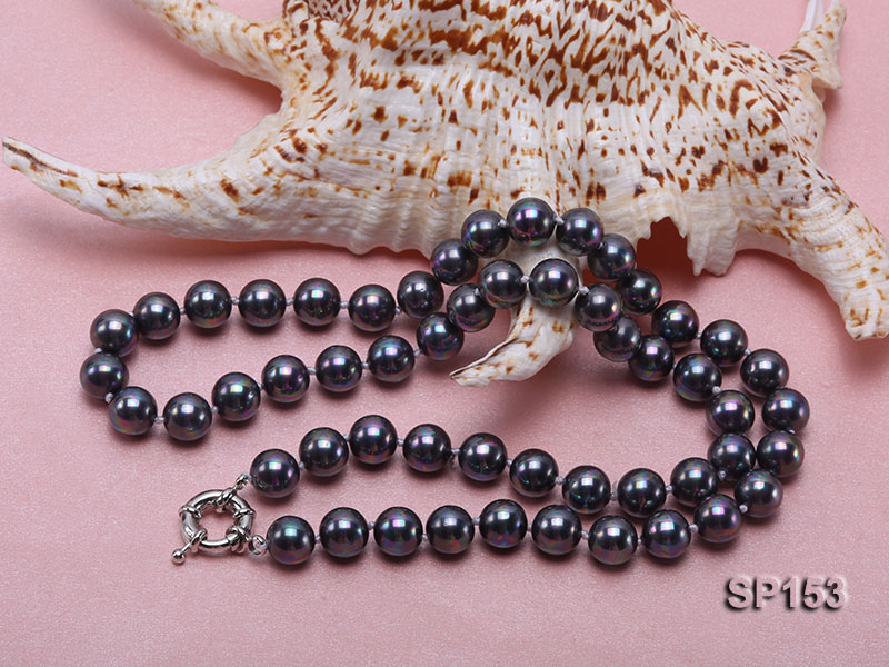10mm shiny black round seashell pearl necklace big Image 4