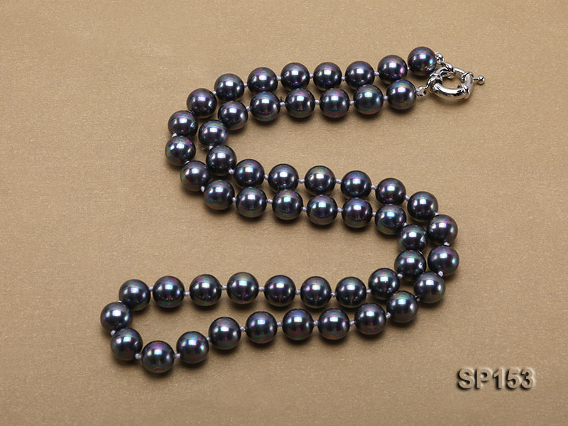 10mm shiny black round seashell pearl necklace big Image 5