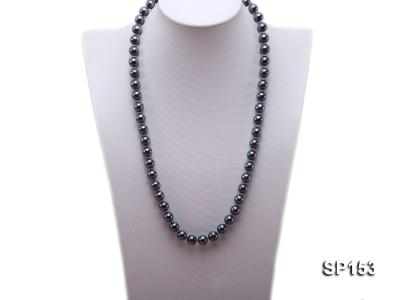 10mm shiny black round seashell pearl necklace SP153 Image 1