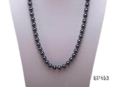 10mm shiny black round seashell pearl necklace SP153 Image 2
