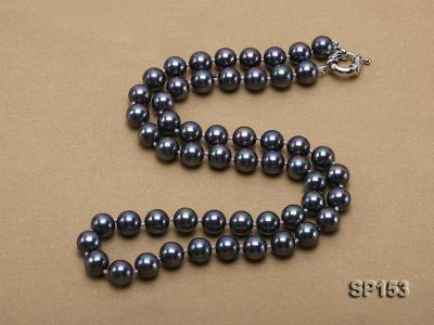 10mm shiny black round seashell pearl necklace SP153 Image 5