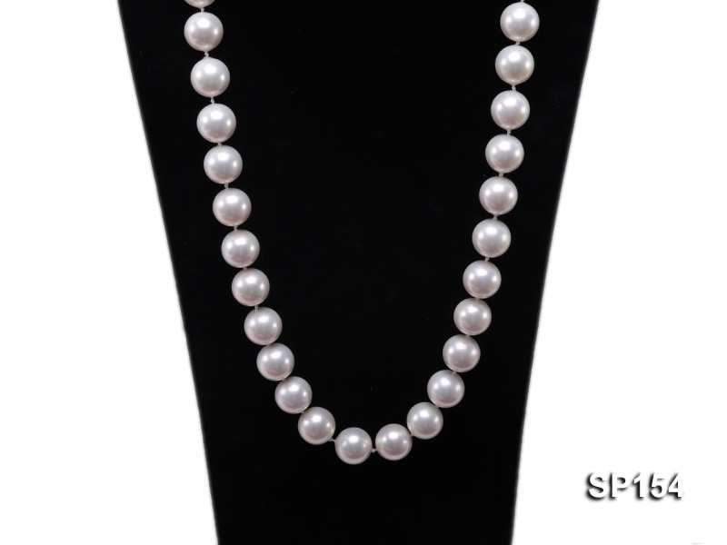 16mm light White round seashell pearl necklace big Image 2