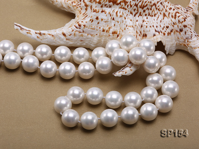 16mm light White round seashell pearl necklace big Image 5