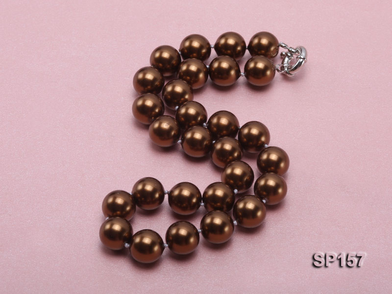 14mm brown round seashell pearl necklace big Image 2