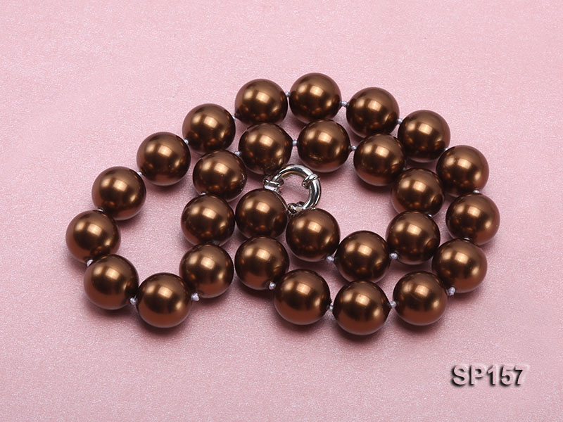 14mm brown round seashell pearl necklace big Image 3