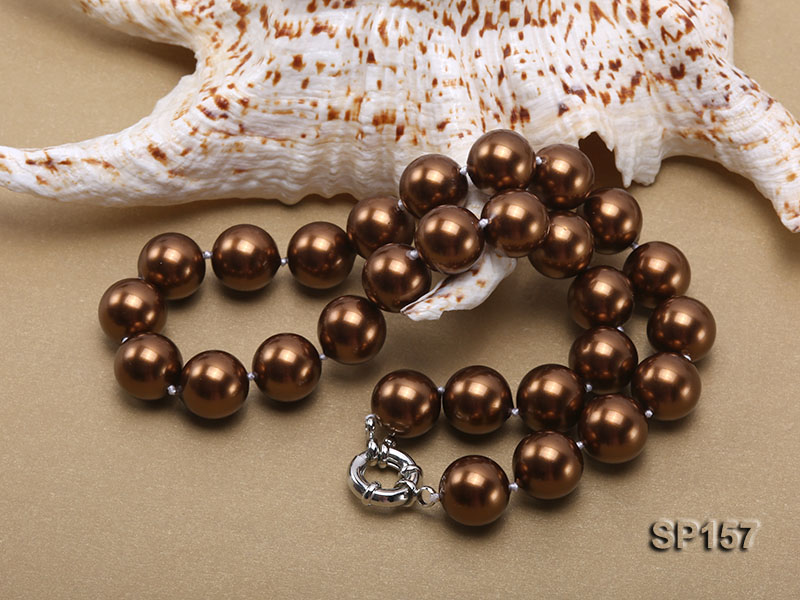 14mm brown round seashell pearl necklace big Image 4