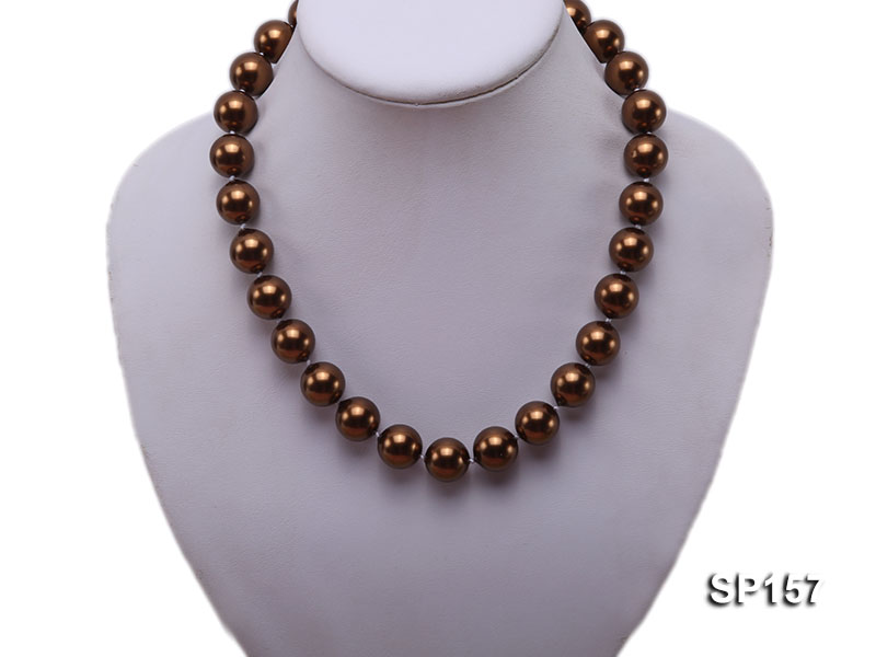 14mm brown round seashell pearl necklace big Image 5