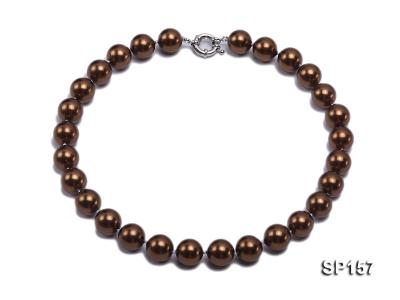 14mm brown round seashell pearl necklace SP157 Image 1