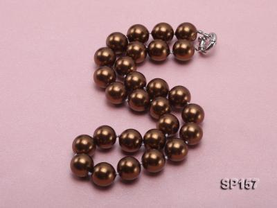 14mm brown round seashell pearl necklace SP157 Image 2