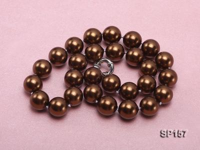 14mm brown round seashell pearl necklace SP157 Image 3