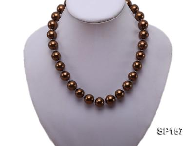 14mm brown round seashell pearl necklace SP157 Image 5