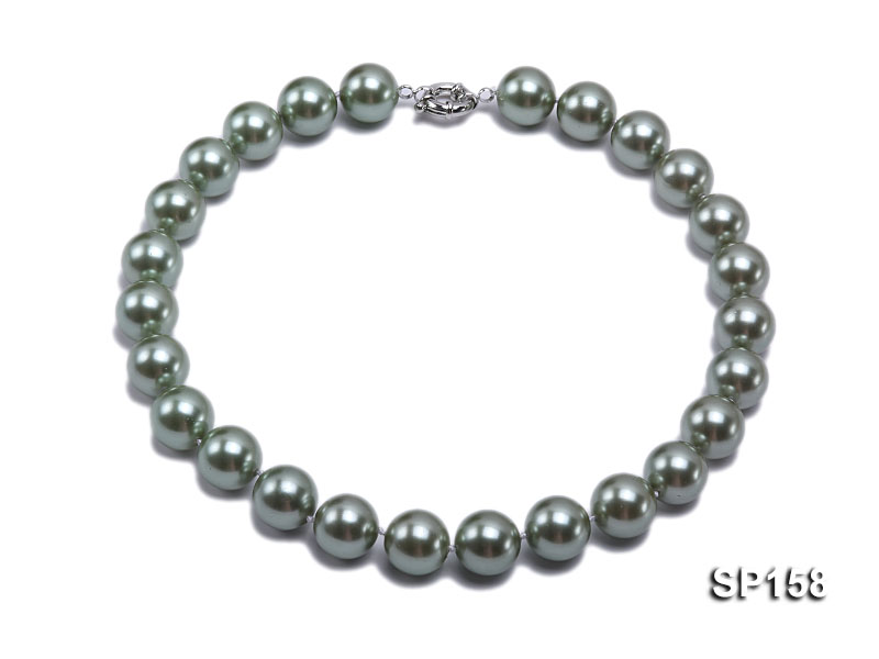16mm green round seashell pearl necklace big Image 1