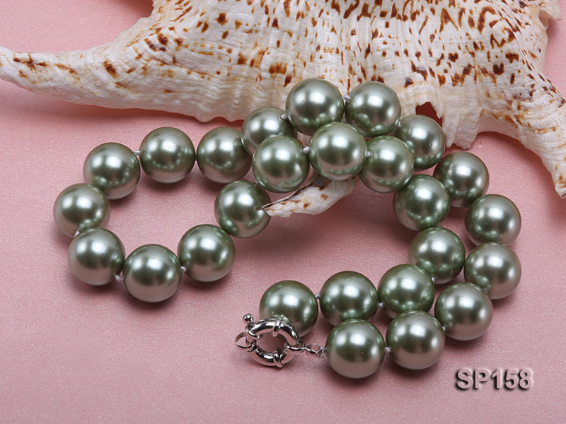 16mm green round seashell pearl necklace big Image 4