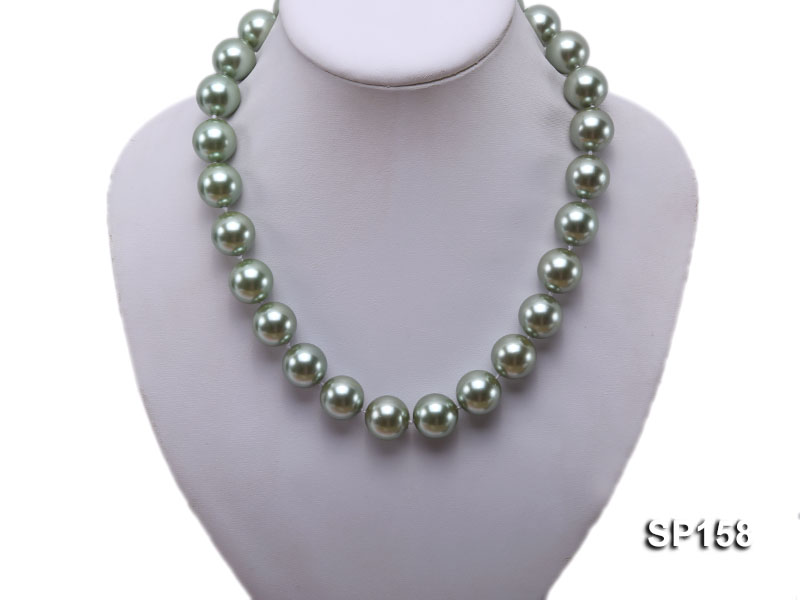 16mm green round seashell pearl necklace big Image 5