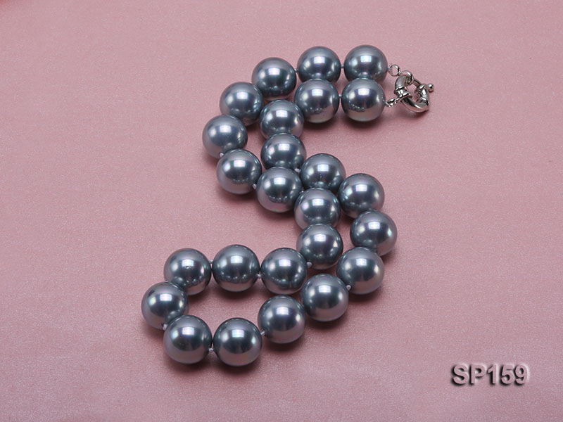 16mm grey round seashell pearl necklace big Image 2