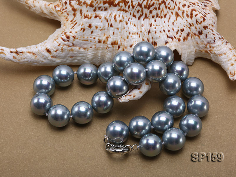 16mm grey round seashell pearl necklace big Image 4