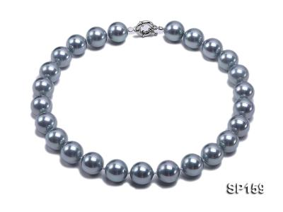 16mm grey round seashell pearl necklace SP159 Image 1