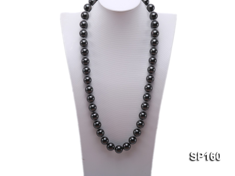 16mm black round seashell pearl necklace big Image 1