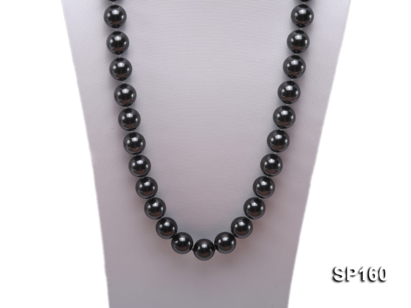 16mm black round seashell pearl necklace big Image 2