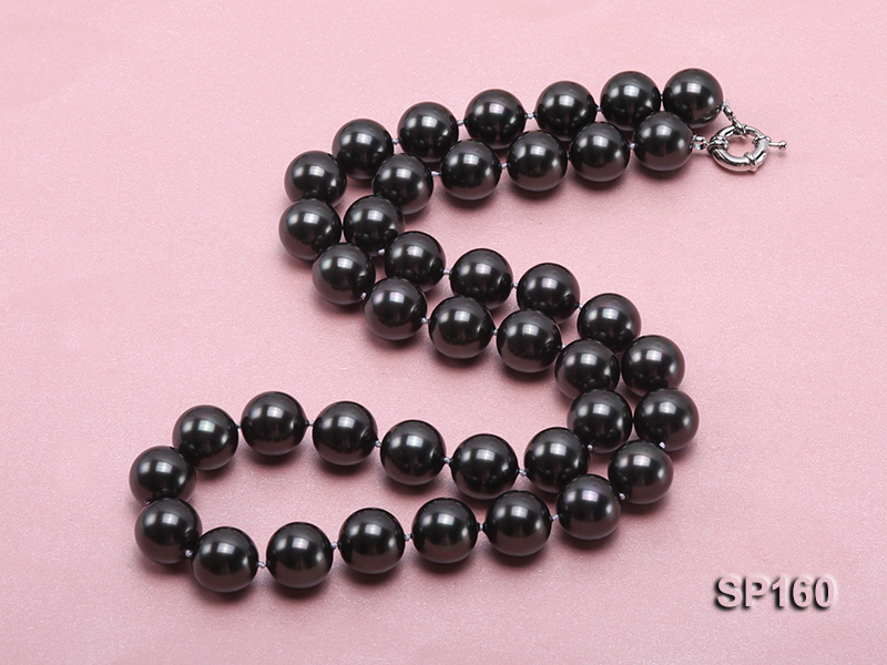 16mm black round seashell pearl necklace big Image 4