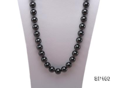 16mm black round seashell pearl necklace SP160 Image 2