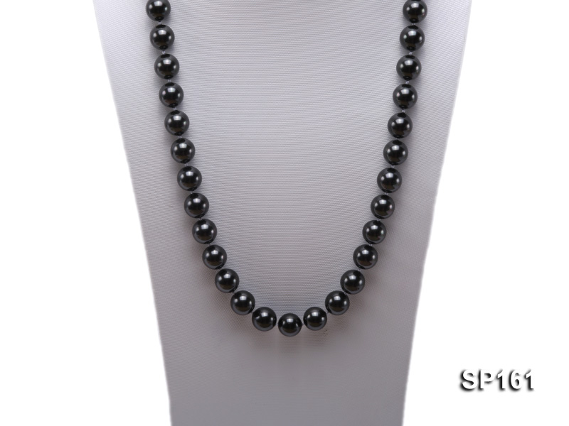 14mm black round seashell pearl necklace big Image 2