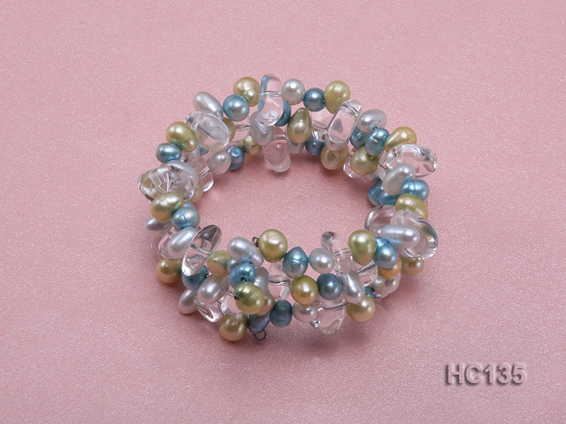 3 strand colorful freshwater pearl and crystal bracelet big Image 1
