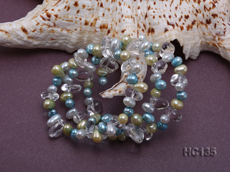 3 strand colorful freshwater pearl and crystal bracelet big Image 2