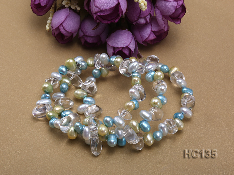 3 strand colorful freshwater pearl and crystal bracelet big Image 3