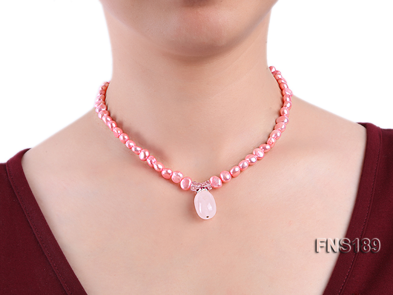 6-7mm pink freshwater pearl with rose quartz pendant necklace big Image 3