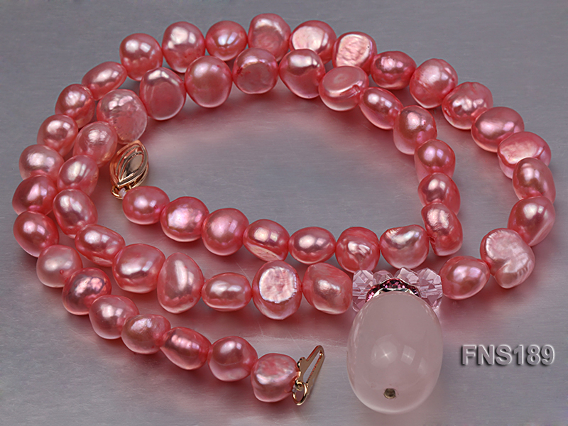 6-7mm pink freshwater pearl with rose quartz pendant necklace big Image 4