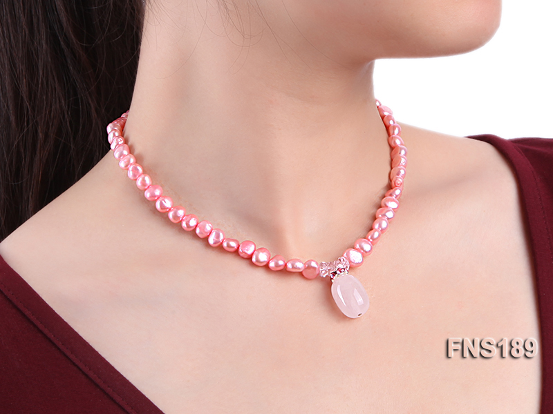 6-7mm pink freshwater pearl with rose quartz pendant necklace big Image 5