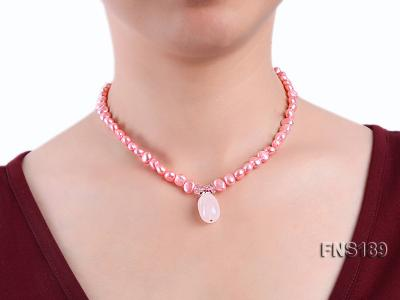 6-7mm pink freshwater pearl with rose quartz pendant necklace FNS189 Image 3