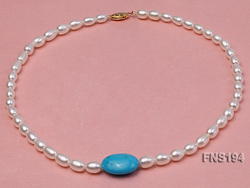 7-8mm natural white rice freshwater pearl with rice blue turquoise necklace big Image 1
