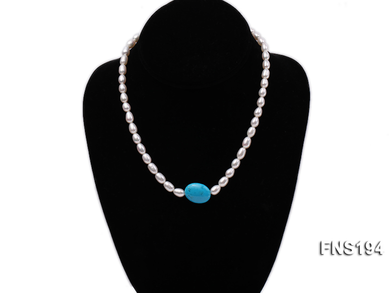7-8mm natural white rice freshwater pearl with rice blue turquoise necklace big Image 2