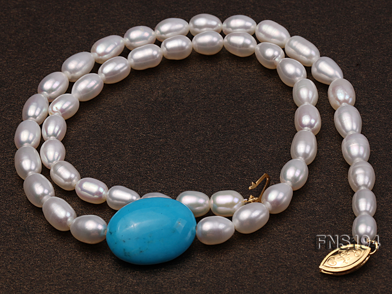 7-8mm natural white rice freshwater pearl with rice blue turquoise necklace big Image 3