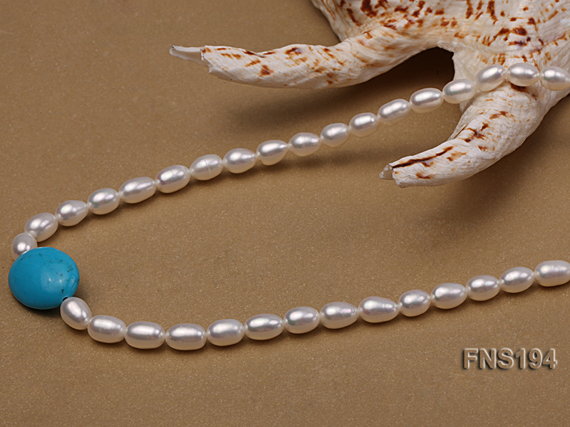 7-8mm natural white rice freshwater pearl with rice blue turquoise necklace big Image 4