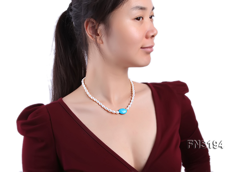 7-8mm natural white rice freshwater pearl with rice blue turquoise necklace big Image 5