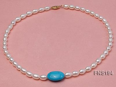 7-8mm natural white rice freshwater pearl with rice blue turquoise necklace FNS194 Image 1