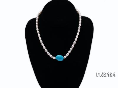7-8mm natural white rice freshwater pearl with rice blue turquoise necklace FNS194 Image 2