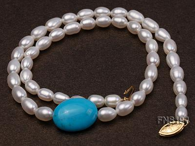 7-8mm natural white rice freshwater pearl with rice blue turquoise necklace FNS194 Image 3