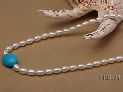 7-8mm natural white rice freshwater pearl with rice blue turquoise necklace FNS194 Image 4