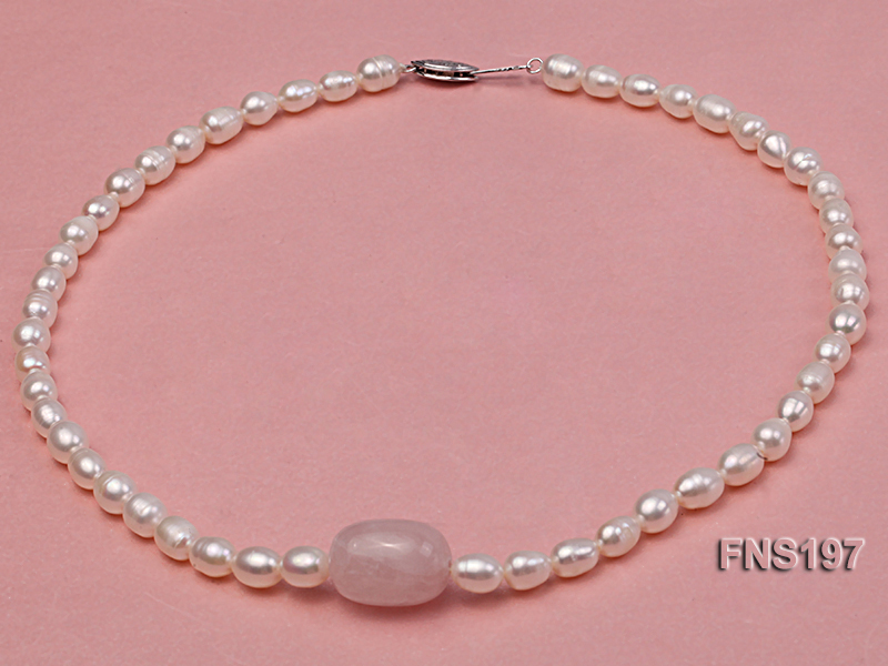 7-8mm natural white rice freshwater pearl with rose quartz single strand necklace big Image 1