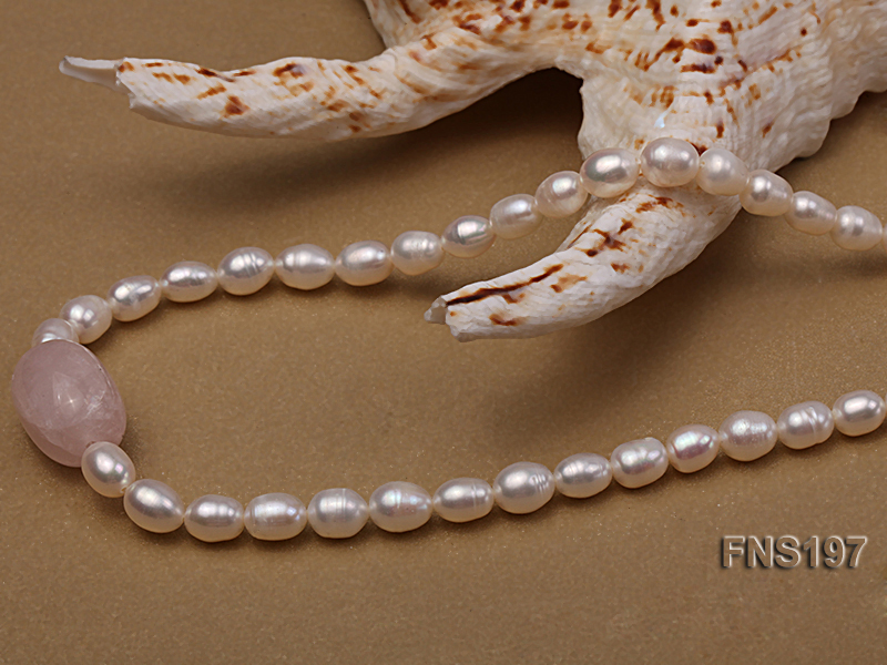 7-8mm natural white rice freshwater pearl with rose quartz single strand necklace big Image 2