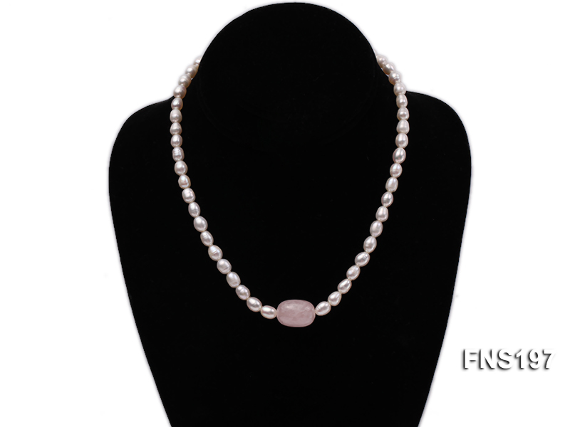 7-8mm natural white rice freshwater pearl with rose quartz single strand necklace big Image 4